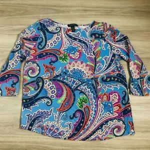 Lauren Ralph Lauren colorful paisley top, 1X